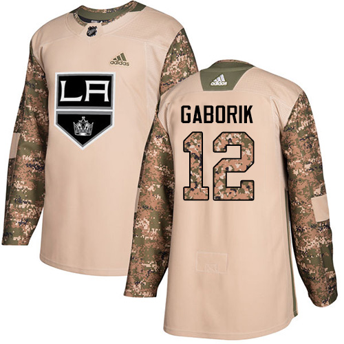 Men's Adidas Los Angeles Kings #12 Marian Gaborik Authentic Camo Veterans Day Practice NHL Jersey