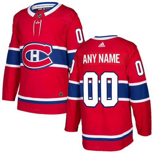 Men's Adidas Montreal Canadiens Customized Authentic Red Home NHL Jersey
