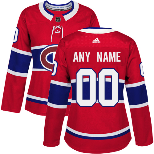 Women's Adidas Montreal Canadiens Customized Authentic Red Home NHL Jersey