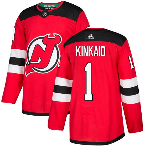 Men's Adidas New Jersey Devils #1 Keith Kinkaid Authentic Red Home NHL Jersey