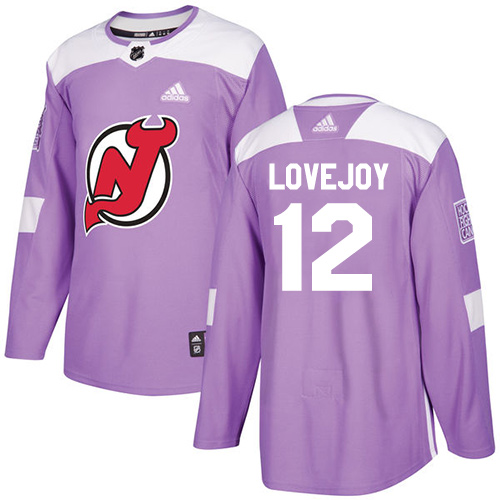 Men's Adidas New Jersey Devils #12 Ben Lovejoy Authentic Purple Fights Cancer Practice NHL Jersey
