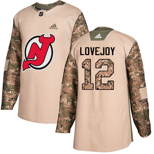 Men's Adidas New Jersey Devils #12 Ben Lovejoy Authentic Camo Veterans Day Practice NHL Jersey