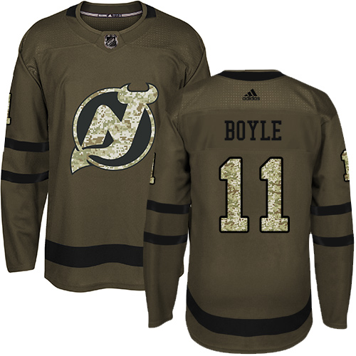 Men's Adidas New Jersey Devils #11 Brian Boyle Authentic Green Salute to Service NHL Jersey