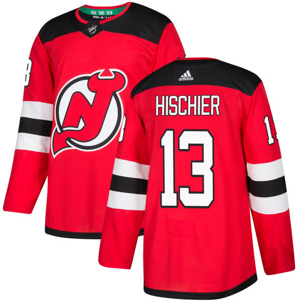 Men's Adidas New Jersey Devils #13 Nico Hischier Premier Red Home NHL Jersey