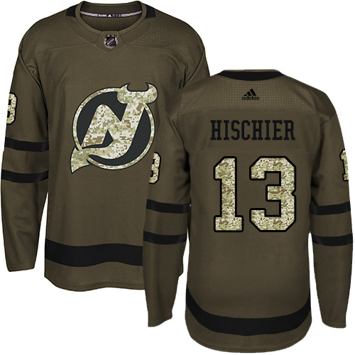 Men's Adidas New Jersey Devils #13 Nico Hischier Authentic Green Salute to Service NHL Jersey
