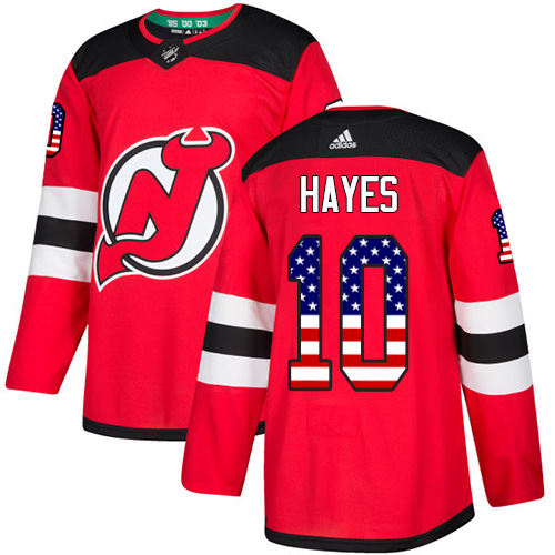 Men's Adidas New Jersey Devils #10 Jimmy Hayes Authentic Red USA Flag Fashion NHL Jersey