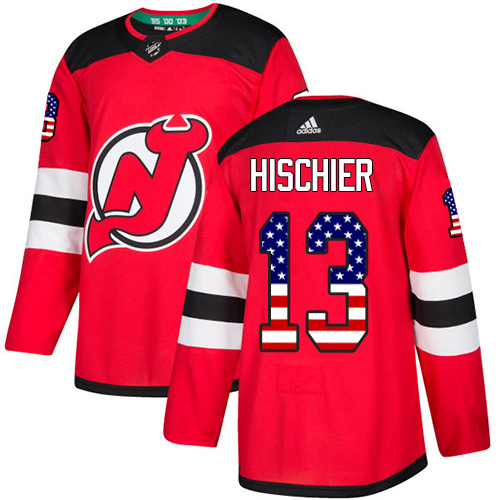 Men's Adidas New Jersey Devils #13 Nico Hischier Authentic Red USA Flag Fashion NHL Jersey