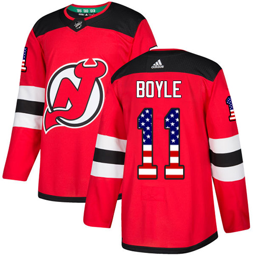 Men's Adidas New Jersey Devils #11 Brian Boyle Authentic Red USA Flag Fashion NHL Jersey