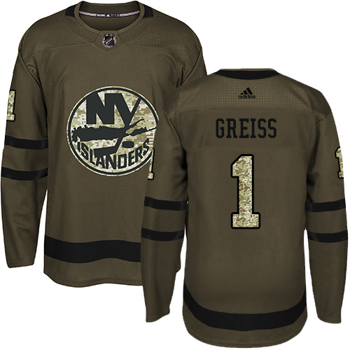 Men's Adidas New York Islanders #1 Thomas Greiss Premier Green Salute to Service NHL Jersey