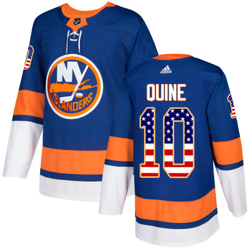 Men's Adidas New York Islanders #10 Alan Quine Authentic Royal Blue USA Flag Fashion NHL Jersey