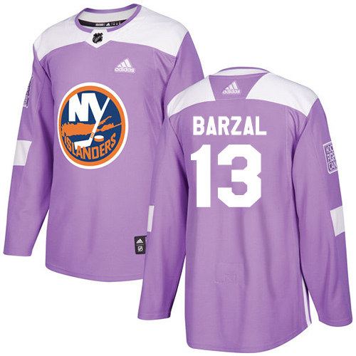 Men's Adidas New York Islanders #13 Mathew Barzal Authentic Purple Fights Cancer Practice NHL Jersey