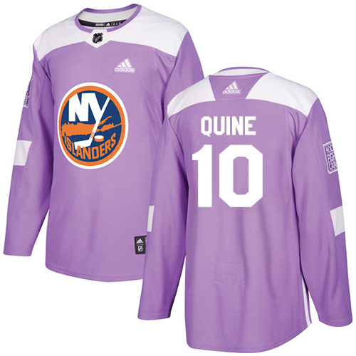 Men's Adidas New York Islanders #10 Alan Quine Authentic Purple Fights Cancer Practice NHL Jersey