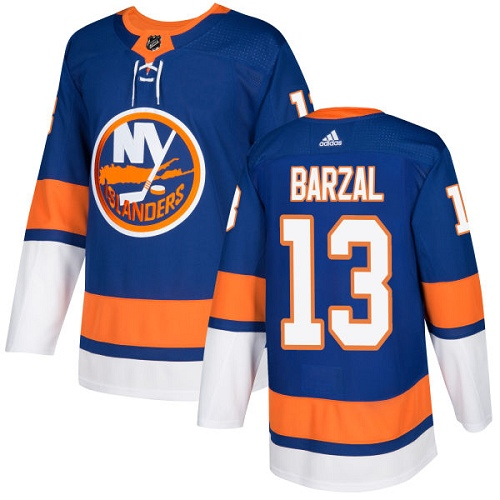 Men's Adidas New York Islanders #13 Mathew Barzal Authentic Royal Blue Home NHL Jersey