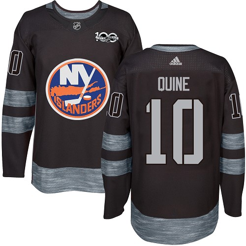 Men's Adidas New York Islanders #10 Alan Quine Authentic Black 1917-2017 100th Anniversary NHL Jersey