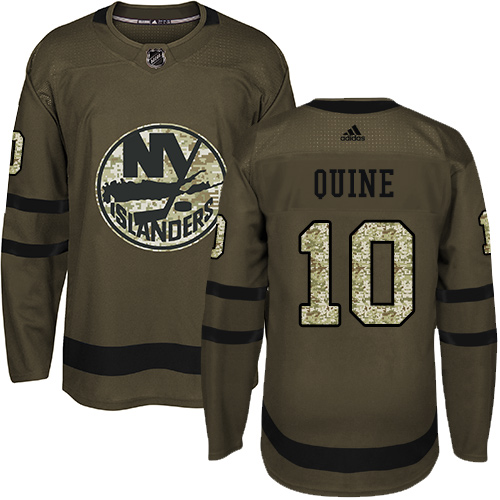 Men's Adidas New York Islanders #10 Alan Quine Authentic Green Salute to Service NHL Jersey
