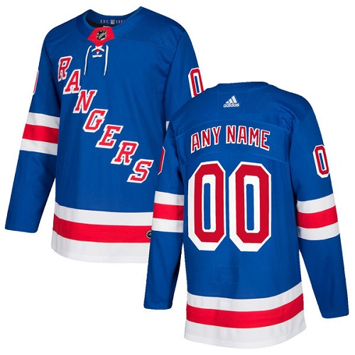 Men's Adidas New York Rangers Customized Authentic Royal Blue Home NHL Jersey