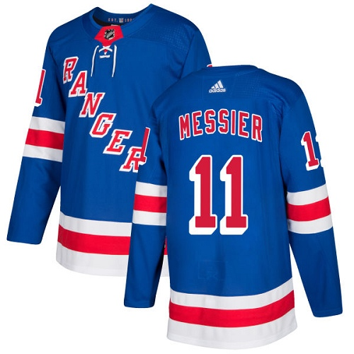 Men's Adidas New York Rangers #11 Mark Messier Authentic Royal Blue Home NHL Jersey