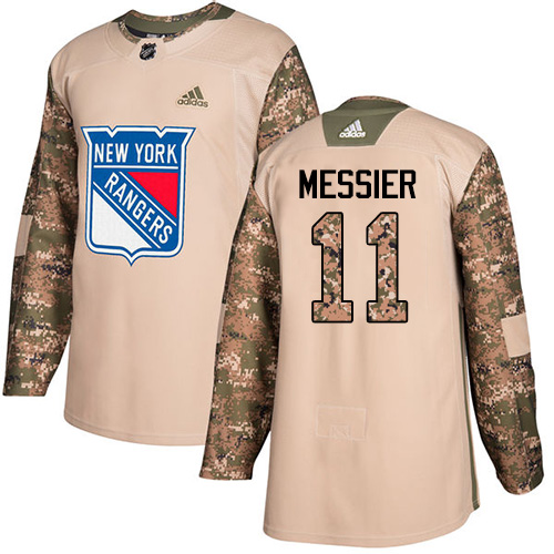 Men's Adidas New York Rangers #11 Mark Messier Authentic Camo Veterans Day Practice NHL Jersey