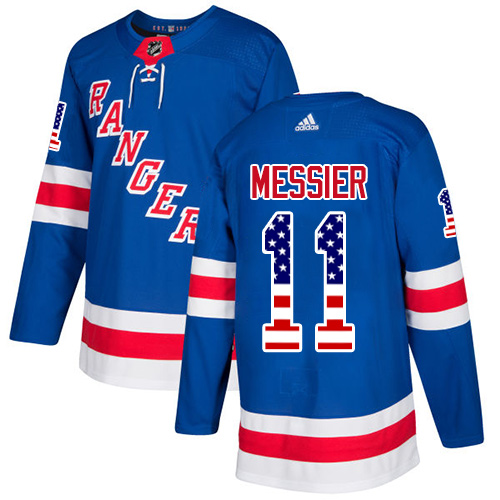 Men's Adidas New York Rangers #11 Mark Messier Authentic Royal Blue USA Flag Fashion NHL Jersey