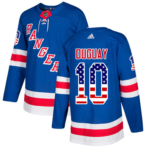 Men's Adidas New York Rangers #10 Ron Duguay Authentic Royal Blue USA Flag Fashion NHL Jersey