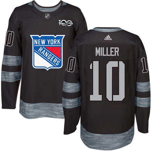 Men's Adidas New York Rangers #10 J.T. Miller Authentic Black 1917-2017 100th Anniversary NHL Jersey