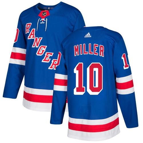 Men's Adidas New York Rangers #10 J.T. Miller Authentic Royal Blue Home NHL Jersey