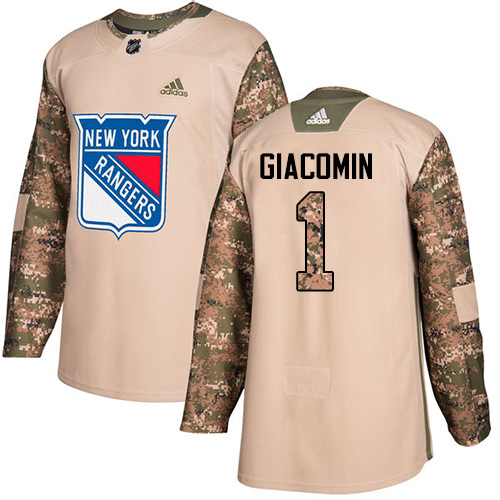 Men's Adidas New York Rangers #1 Eddie Giacomin Authentic Camo Veterans Day Practice NHL Jersey