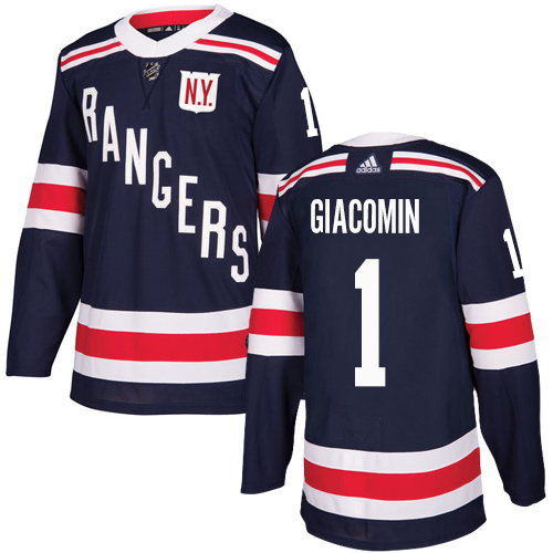 Men's Adidas New York Rangers #1 Eddie Giacomin Authentic Navy Blue 2018 Winter Classic NHL Jersey