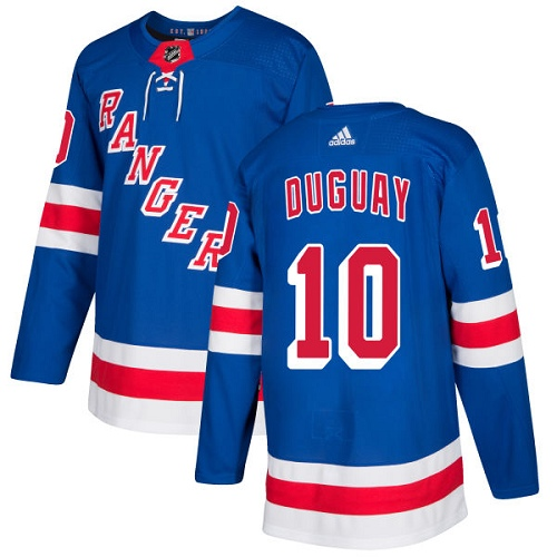 Men's Adidas New York Rangers #10 Ron Duguay Premier Royal Blue Home NHL Jersey