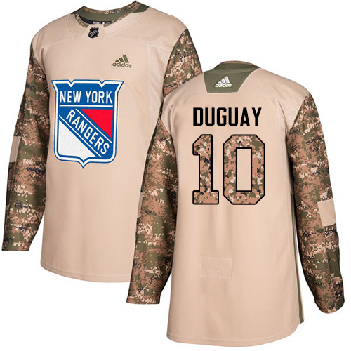 Men's Adidas New York Rangers #10 Ron Duguay Authentic Camo Veterans Day Practice NHL Jersey