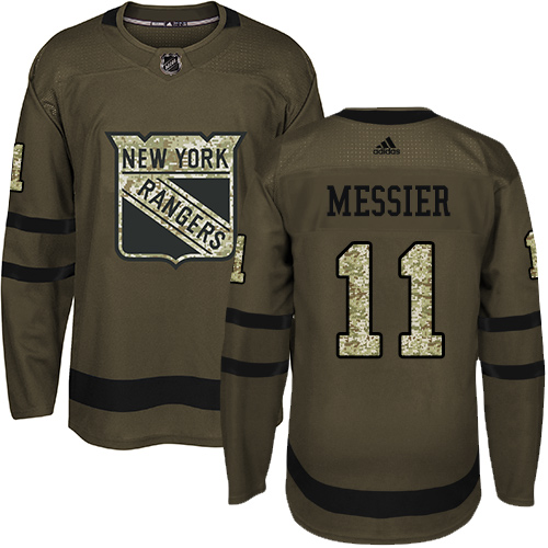 Men's Adidas New York Rangers #11 Mark Messier Authentic Green Salute to Service NHL Jersey