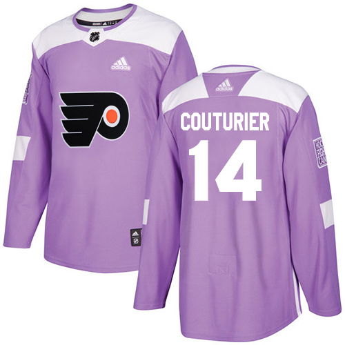 Men's Adidas Philadelphia Flyers #14 Sean Couturier Authentic Purple Fights Cancer Practice NHL Jersey