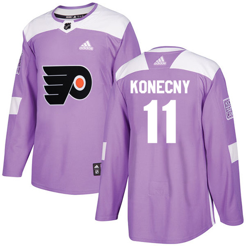 Men's Adidas Philadelphia Flyers #11 Travis Konecny Authentic Purple Fights Cancer Practice NHL Jersey