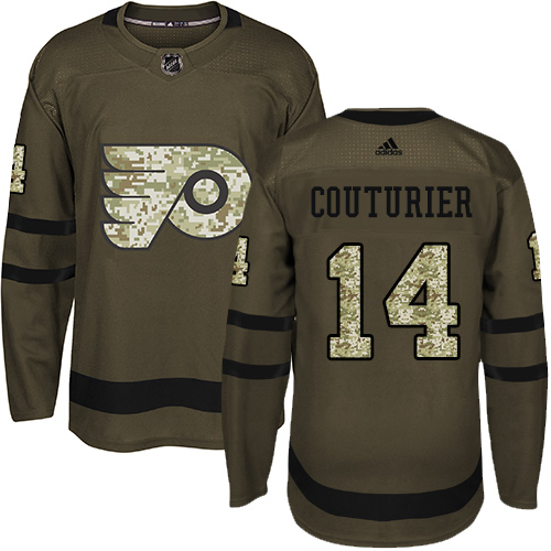 Men's Adidas Philadelphia Flyers #14 Sean Couturier Authentic Green Salute to Service NHL Jersey