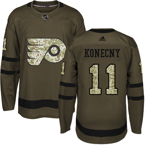 Men's Adidas Philadelphia Flyers #11 Travis Konecny Authentic Green Salute to Service NHL Jersey