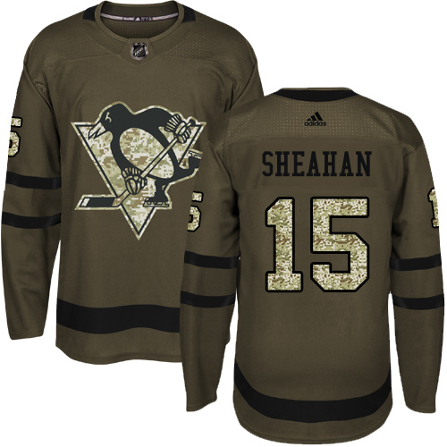 Men's Adidas Pittsburgh Penguins #15 Riley Sheahan Authentic Green Salute to Service NHL Jersey
