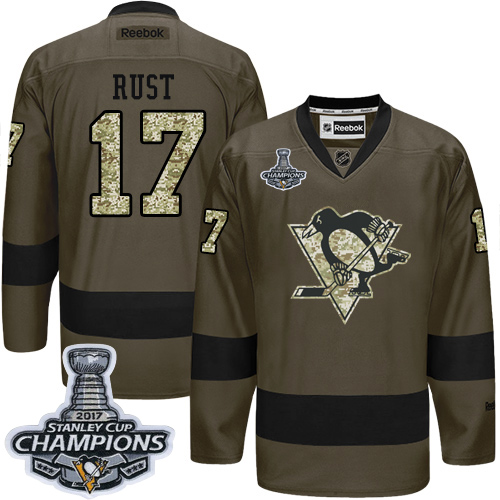 Men's Adidas Pittsburgh Penguins #17 Bryan Rust Authentic Green Salute to Service 2017 Stanley Cup Champions NHL Jersey