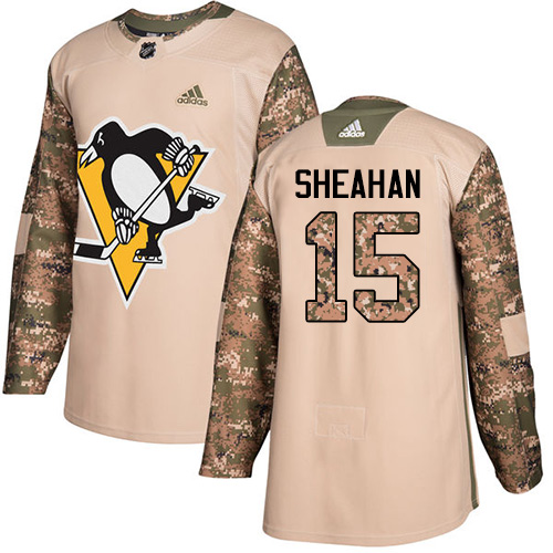 Men's Adidas Pittsburgh Penguins #15 Riley Sheahan Authentic Camo Veterans Day Practice NHL Jersey
