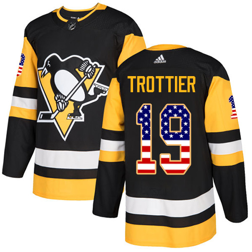 Men's Adidas Pittsburgh Penguins #19 Bryan Trottier Authentic Black USA Flag Fashion NHL Jersey