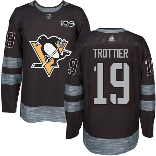 Men's Adidas Pittsburgh Penguins #19 Bryan Trottier Authentic Black 1917-2017 100th Anniversary NHL Jersey