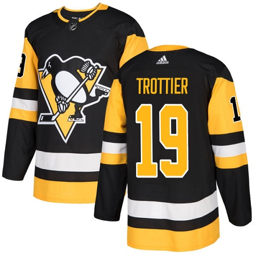 Men's Adidas Pittsburgh Penguins #19 Bryan Trottier Authentic Black Home NHL Jersey