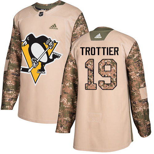 Men's Adidas Pittsburgh Penguins #19 Bryan Trottier Authentic Camo Veterans Day Practice NHL Jersey