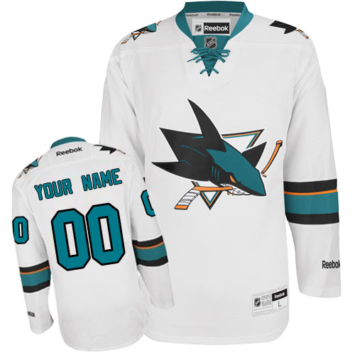 Youth Reebok San Jose Sharks Customized Authentic White Away NHL Jersey
