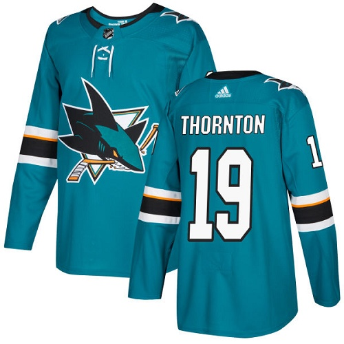 Men's Adidas San Jose Sharks #19 Joe Thornton Authentic Teal Green Home NHL Jersey
