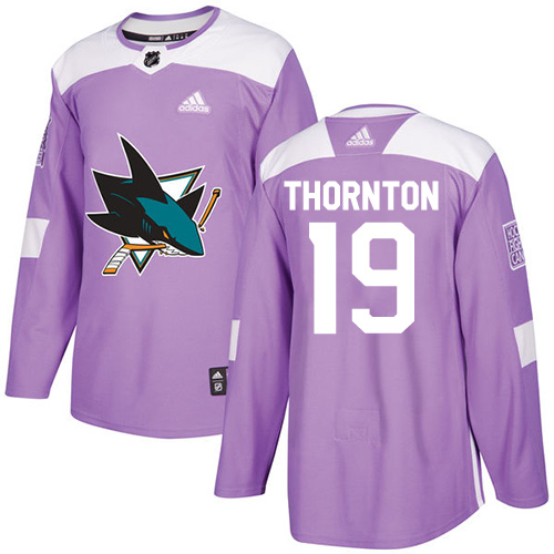 Men's Adidas San Jose Sharks #19 Joe Thornton Authentic Purple Fights Cancer Practice NHL Jersey