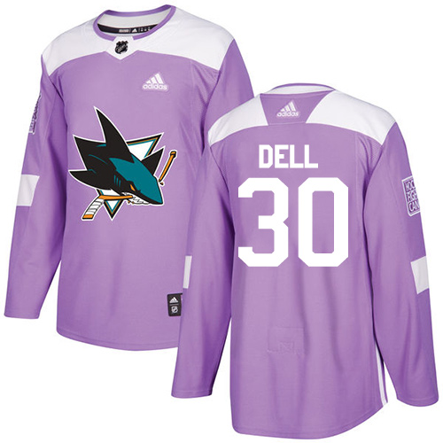 Men's Adidas San Jose Sharks #30 Aaron Dell Authentic Purple Fights Cancer Practice NHL Jersey