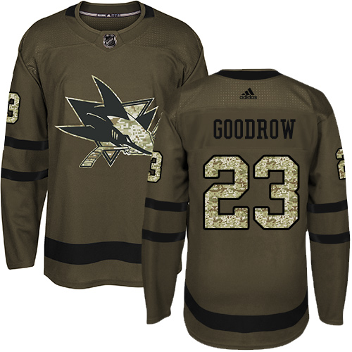 Men's Adidas San Jose Sharks #23 Barclay Goodrow Premier Green Salute to Service NHL Jersey