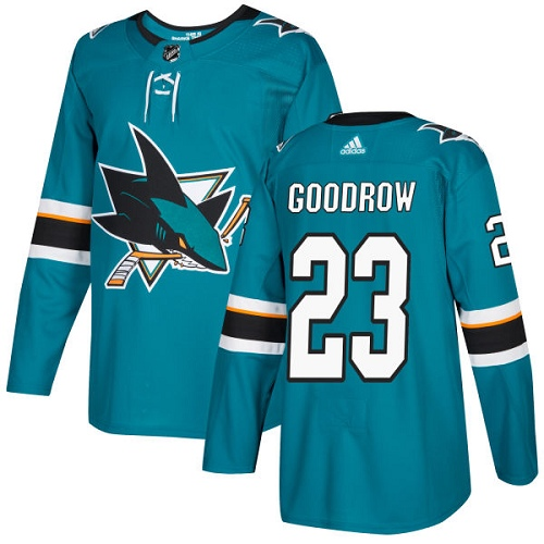 Men's Adidas San Jose Sharks #23 Barclay Goodrow Premier Teal Green Home NHL Jersey