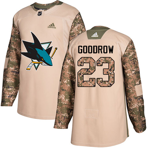 Men's Adidas San Jose Sharks #23 Barclay Goodrow Authentic Camo Veterans Day Practice NHL Jersey