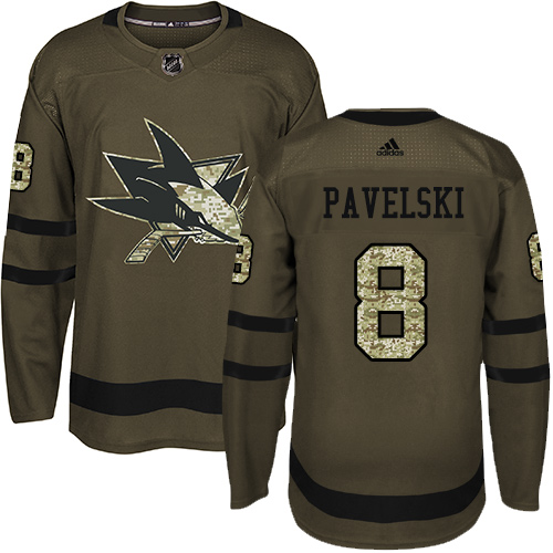 Youth Adidas San Jose Sharks #8 Joe Pavelski Premier Green Salute to Service NHL Jersey